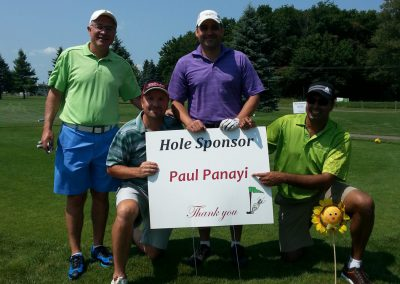 4 golfers with Hole Sponsor sign at Fore for Shan 2014