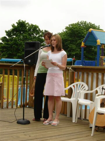 Robyn and Tara speaking at Shan's Celebration of Lfe