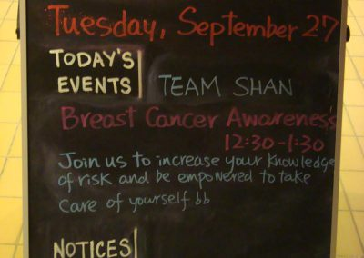 Team Shan Breast Cancer Awareness Chalboard Sign in Calgary