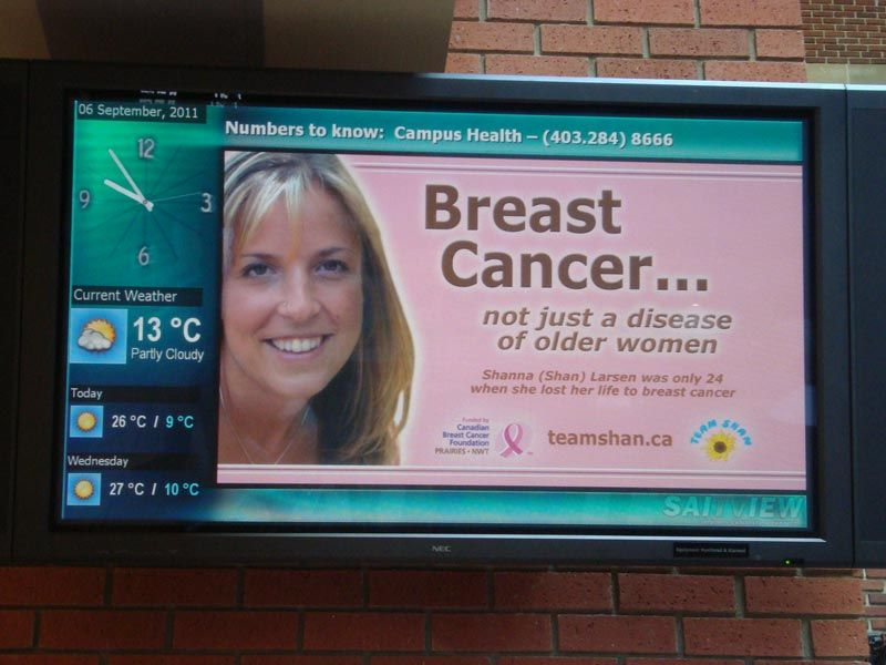 Team Shan Breast Cancer NuTV Student Television ad in Calgary