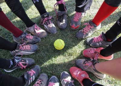 Circle of Shoes with Breast Cancer Ribbons