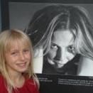 Sarah with Shanna's Self Portrait in Winnipeg