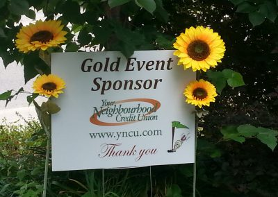 Your Neighbourhood Credit Union Sponsorship sign at Fore for Shan 2015