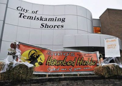 City of Temiskaming Shores with Stato's Haunted Hustle event sign