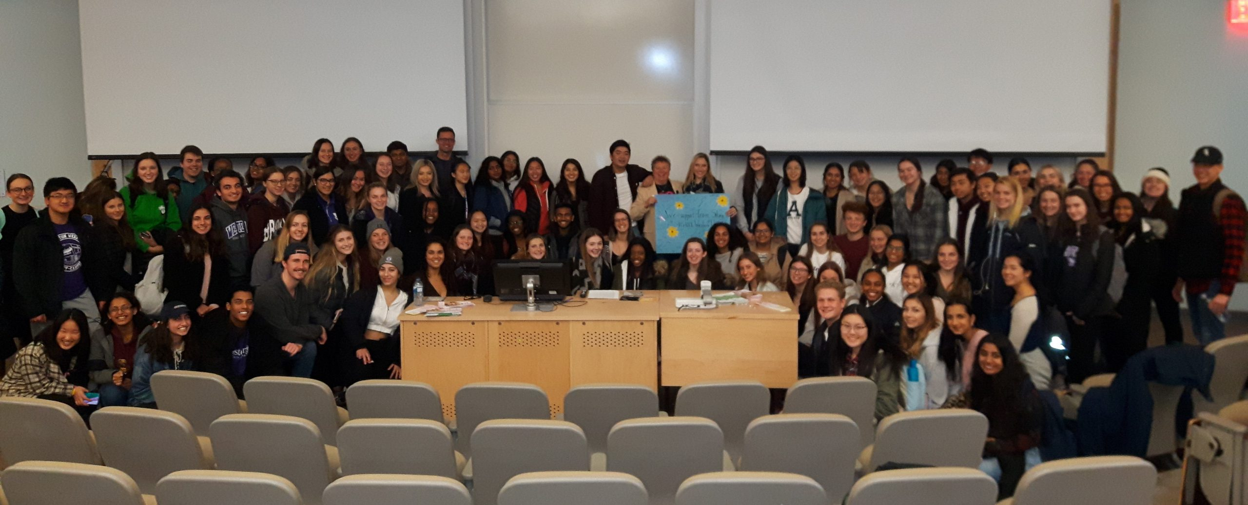 Group of students and their professor with Lorna at Health Sciences Student Presentation