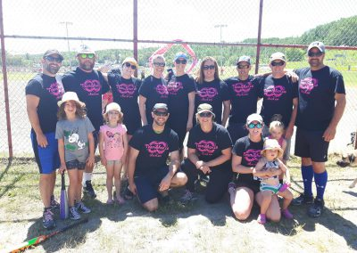 Knock Cancer Out of the Park 2019: Baseball team with TeamShan.ca Check 'em t-shirts.