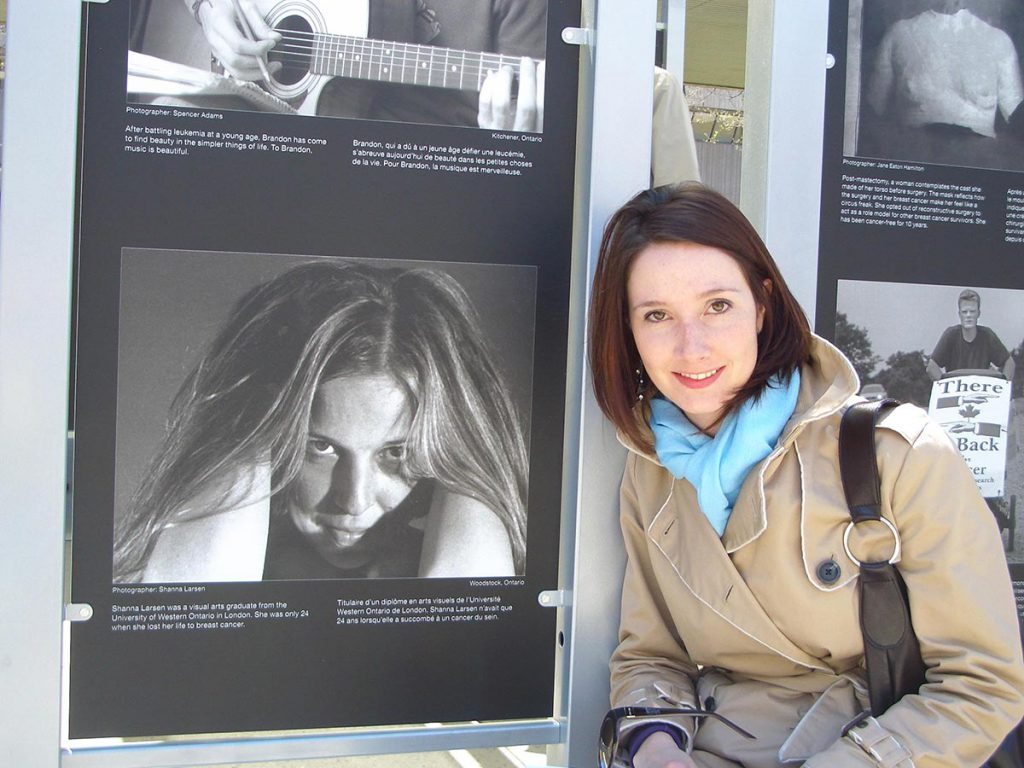 Linsay with Shanna's Self Portrait in Toronto